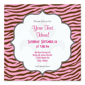Rosa y estampado de animales de las rayas de la invitación 13,3 cm x 13,3cm