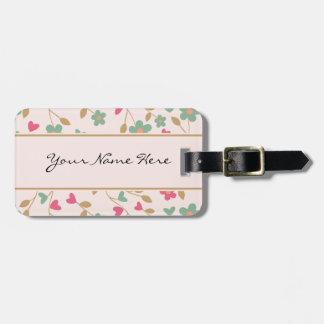 Rosa y estampado de flores femeninos coloridos de etiquetas para maletas