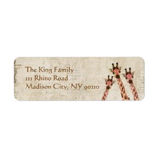 Rosa y etiqueta de dirección de cobre de las jiraf