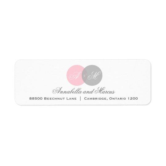 Rosa y etiqueta de dirección entrelazada gris del
