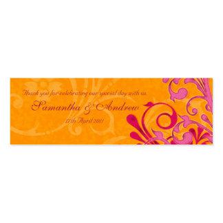 Rosa y etiquetas florales abstractas anaranjadas tarjetas de visita mini