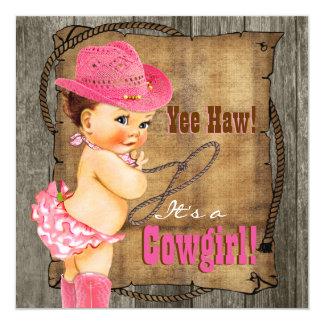 Rosa y fiesta de bienvenida al bebé de la vaquera invitación 13,3 cm x 13,3cm