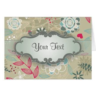 Rosa y floral azul en moreno con el letrero tarjeta pequeña