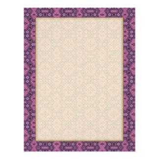 Rosa y floral geométrico retro púrpura folleto 21,6 x 28 cm
