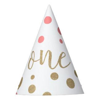 Rosa y gorras del cumpleaños del brillo del oro