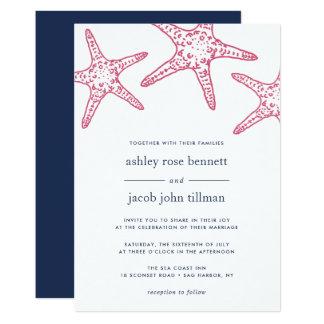 Rosa y invitación del boda de las estrellas de mar