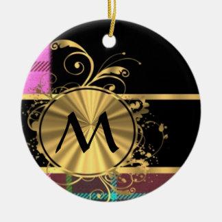 Rosa y monograma del tartán del oro ornamento de navidad