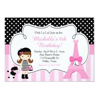 Rosa y negro de la torre Eiffel de París del la Invitación 12,7 X 17,8 Cm