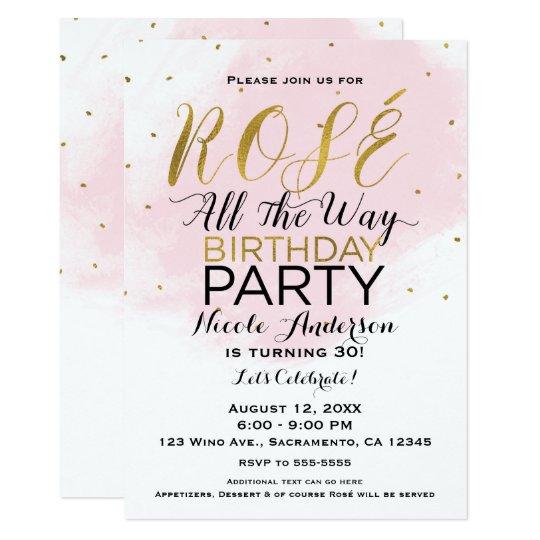 Rosa y oro de la fiesta de cumpleaños de Rosé Invitación 12,7 X 17,8 Cm