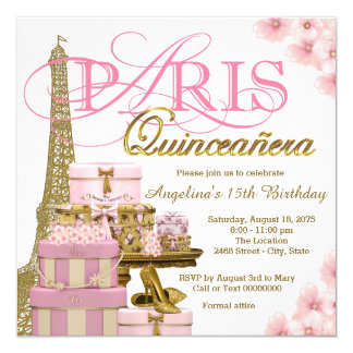 Rosa y oro París Quinceanera Invitación 13,3 Cm X 13,3cm