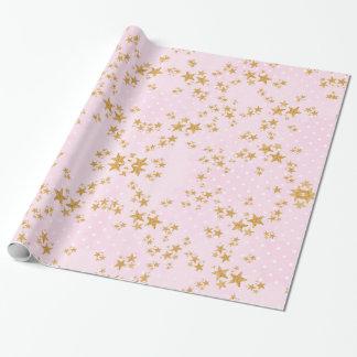 Rosa y papel de embalaje del oro