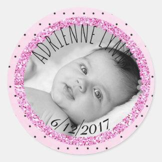 Rosa y pegatina personalizados de la foto del bebé