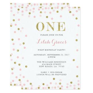 Rosa y primeras invitaciones del cumpleaños del invitación 12,7 x 17,8 cm