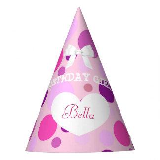 Rosa y púrpura del chica del cumpleaños del gorra