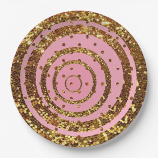 Rosa y remolino del brillo del oro y placas del plato de papel