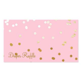 Rosa y rifa brillante del pañal de los puntos del tarjetas de visita
