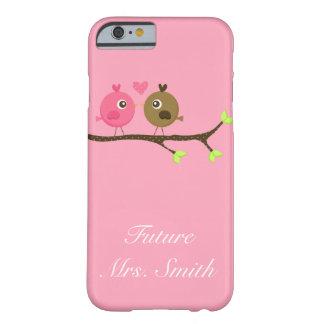 Rosa y señora del futuro de los pájaros del amor funda de iPhone 6 barely there