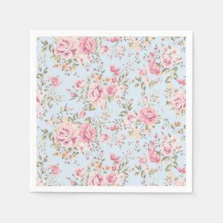Rosa y servilletas elegantes lamentables florales servilletas de papel