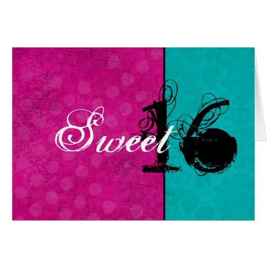 Rosa y tarjeta de cumpleaños feliz del dulce
