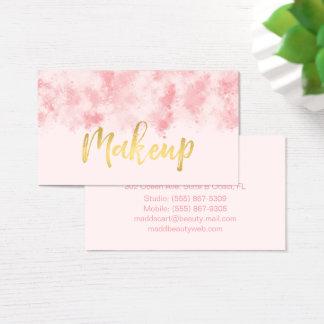 Rosa y tarjeta de visita del maquillaje del oro