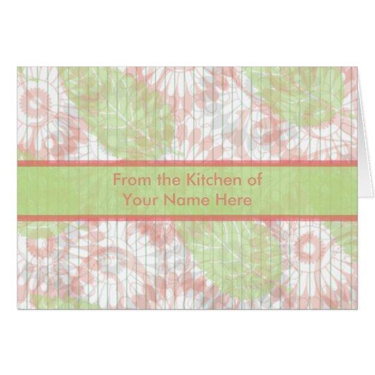 Rosa y tarjeta personalizada verde de la receta