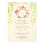Rosa y verde de la invitación del boda del jardín