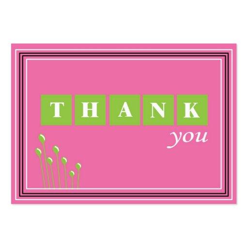 Rosa y verde gracias tarjetas de negocios
