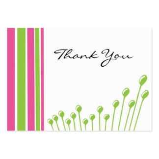 Rosa y verde gracias tarjeta de visita
