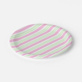 Rosa y verde rayados plato de papel