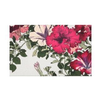 Rosa y vintage rizado blanco de las petunias impresión en lienzo