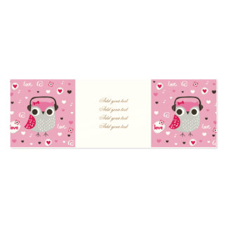 Rosada, lindo, búho, divertido, femenino, modelo, tarjetas de visita mini