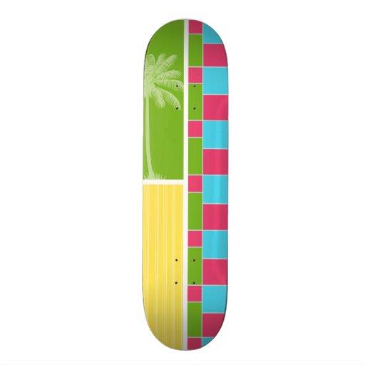Rosado, azul tropical, verde, y amarillo patines