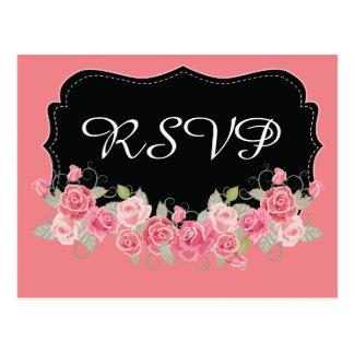 Rosado de RSVP y negro bonitos Postal