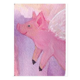 Rosado el cerdo del vuelo - cuando los cerdos postal