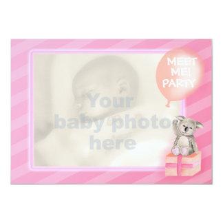 Rosado encuéntreme nueva niña que el fiesta invita invitación 11,4 x 15,8 cm