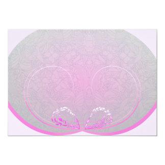Rosado expresivo y el gris remolina regalo de la invitación 12,7 x 17,8 cm