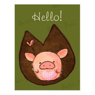 Rosado la postal miniatura del cerdo
