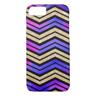 Rosado, púrpura y oro Chevron Funda iPhone 7