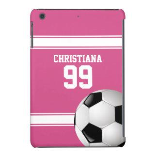 Rosado y blanco raya el balón de fútbol del jersey funda de iPad mini
