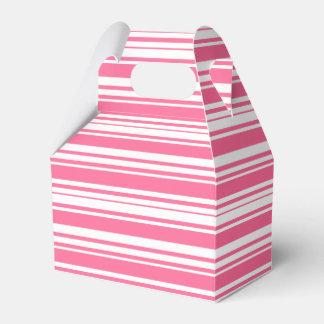 Rosado y blanco raya la caja del banquete de boda