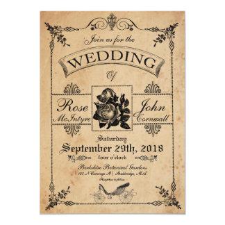Rosaleda romántica de la invitación del boda del