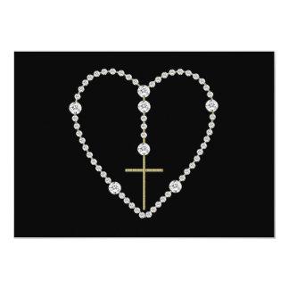Rosario del diamante - saludo Maria por completo Invitación 12,7 X 17,8 Cm