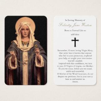 Rosario fúnebre de la tarjeta el | Maria del rezo