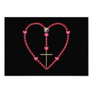 Rosario minúsculo de los corazones invitación 8,9 x 12,7 cm