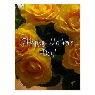 Rosas amarillos felices del día de madre postal