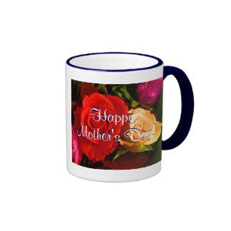 Rosas amarillos rojos felices del día de madre IV Tazas