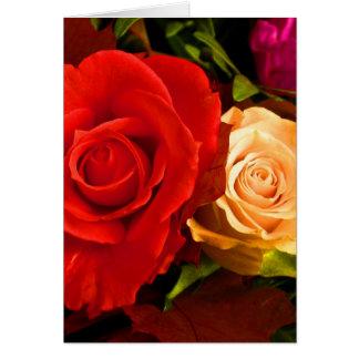 Rosas amarillos rojos felices del día de padre III Tarjeta De Felicitación