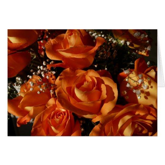 Rosas anaranjados tarjeta de felicitación