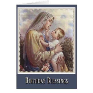 Rosas bendecidos de Jesús del niño del Virgen Tarjeta De Felicitación