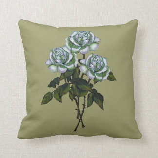 Rosas blancos: Arte del lápiz del color: Floral, Cojín